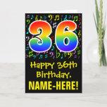 [ Thumbnail: 36th Birthday: Colorful Music Symbols + Rainbow 36 Card ]