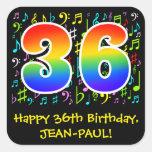 [ Thumbnail: 36th Birthday: Colorful Music Symbols, Rainbow 36 Sticker ]