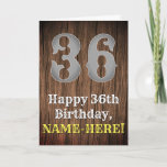 [ Thumbnail: 36th Birthday: Country Western Inspired Look, Name Card ]