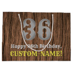 [ Thumbnail: 36th Birthday: Country Western Inspired Look, Name Gift Bag ]