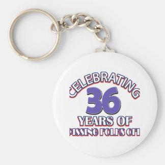 36th birthday designs keychain