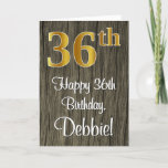[ Thumbnail: 36th Birthday: Elegant Faux Gold Look #, Faux Wood Card ]