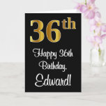 [ Thumbnail: 36th Birthday ~ Elegant Luxurious Faux Gold Look # Card ]