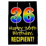 "[ Thumbnail: 36th Birthday: Fun, Bold, Colorful, Rainbow ""36"" Gift Bag ]"