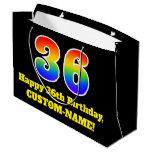 [ Thumbnail: 36th Birthday ~ Fun, Colorful, Vibrant, Rainbow 36 Gift Bag ]