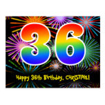 [ Thumbnail: 36th Birthday – Fun Fireworks Pattern + Rainbow 36 Postcard ]