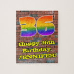 [ Thumbnail: 36th Birthday: Fun Graffiti-Inspired Rainbow 36 Jigsaw Puzzle ]