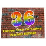 [ Thumbnail: 36th Birthday: Fun, Graffiti-Inspired Rainbow # 36 Gift Bag ]