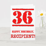 [ Thumbnail: 36th Birthday: Fun, Red Rubber Stamp Inspired Look Card ]