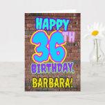 [ Thumbnail: 36th Birthday - Fun, Urban Graffiti Inspired Look Card ]