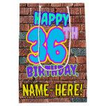 [ Thumbnail: 36th Birthday: Fun, Urban Graffiti Inspired Look Gift Bag ]