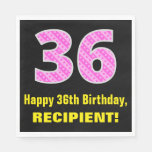 "[ Thumbnail: 36th Birthday: Pink Stripes and Hearts ""36"" + Name Napkins ]"