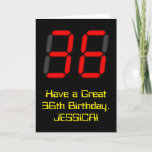 "[ Thumbnail: 36th Birthday: Red Digital Clock Style ""36"" + Name Card ]"