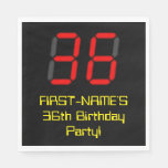 "[ Thumbnail: 36th Birthday: Red Digital Clock Style ""36"" + Name Napkins ]"