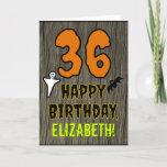 [ Thumbnail: 36th Birthday: Spooky Halloween Theme, Custom Name Card ]