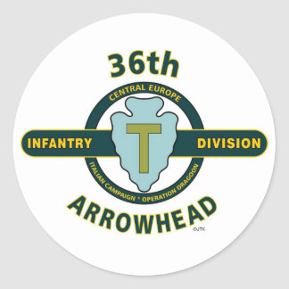 """36TH INFANTRY DIVISION """"ARROWHEAD-TEXAS"""" ROUND STICKERS"""