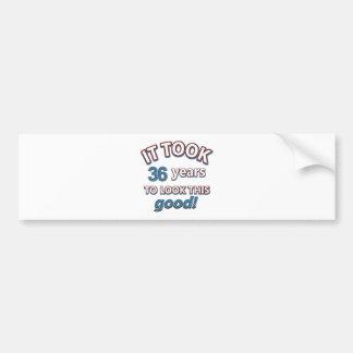36th year birthday designs car bumper sticker