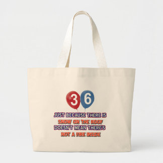 36th year old snow on the roof birthday designs bags