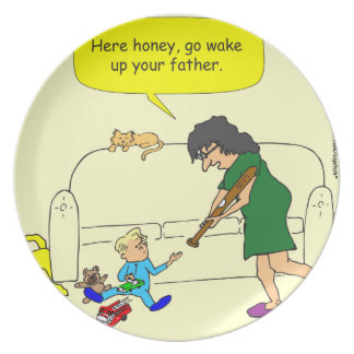 374 wake up your father cartoon dinner plate