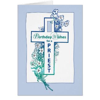 3772 Priest Birthday Cross Flowers Card