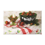 3786 Strawberries in Bowl Still Life Stretched Canvas Print