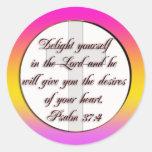 37:4 DEL SALMO DE LA ESCRITURA DE LA BIBLIA PEGATINA REDONDA