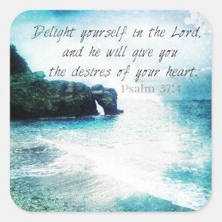 37:4 inspirado del salmo del verso de la biblia pegatina cuadrada