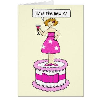 37.a celebración del cumpleaños, señora en una tarjeta de felicitación