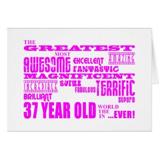 37.os cumpleaños treinta y siete más grande rosado tarjeta de felicitación