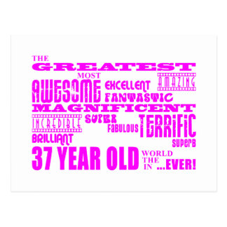 37.os cumpleaños treinta y siete más grande rosado tarjeta postal