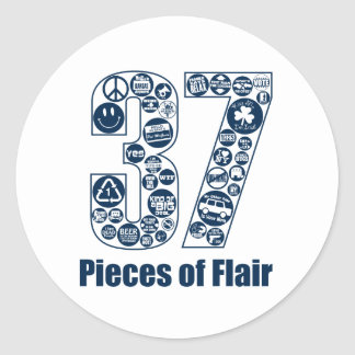 37 Pieces of Flair (dark lettering) Classic Round Sticker