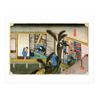 37. The Akasaka inn, Hiroshige Postcard