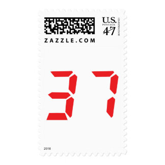 37 thirty-seven red alarm clock digital number postage