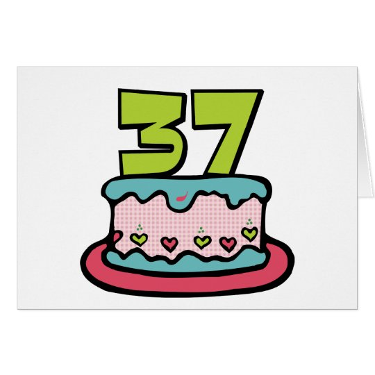 37 Year Old Birthday Cake Card