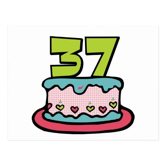 37 Year Old Birthday Cake Postcard