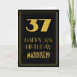 "[ Thumbnail: 37th Birthday ~ Art Deco Inspired Look ""37"" & Name Card ]"
