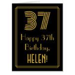 "[ Thumbnail: 37th Birthday: Art Deco Inspired Look ""37"" + Name Card ]"