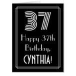 "[ Thumbnail: 37th Birthday — Art Deco Inspired Look ""37"" + Name Card ]"