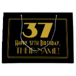 "[ Thumbnail: 37th Birthday — Art Deco Inspired Look ""37"" & Name Gift Bag ]"
