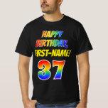 [ Thumbnail: 37th Birthday — Bold, Fun, Rainbow 37, Custom Name T-Shirt ]