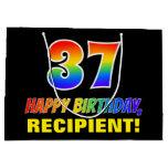 [ Thumbnail: 37th Birthday: Bold, Fun, Simple, Rainbow 37 Gift Bag ]