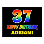[ Thumbnail: 37th Birthday: Bold, Fun, Simple, Rainbow 37 Postcard ]