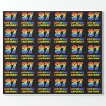 [ Thumbnail: 37th Birthday: Bold, Fun, Simple, Rainbow 37 Wrapping Paper ]