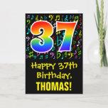 [ Thumbnail: 37th Birthday: Colorful Music Symbols + Rainbow 37 Card ]