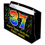 [ Thumbnail: 37th Birthday - Colorful Music Symbols, Rainbow 37 Gift Bag ]