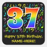 [ Thumbnail: 37th Birthday: Colorful Music Symbols, Rainbow 37 Sticker ]