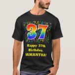 [ Thumbnail: 37th Birthday: Colorful Music Symbols, Rainbow 37 T-Shirt ]
