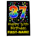 [ Thumbnail: 37th Birthday: Colorful Stars Pattern & Rainbow 37 Gift Bag ]