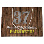 [ Thumbnail: 37th Birthday: Country Western Inspired Look, Name Gift Bag ]