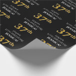 [ Thumbnail: 37th Birthday: Elegant, Black, Faux Gold Look Wrapping Paper ]
